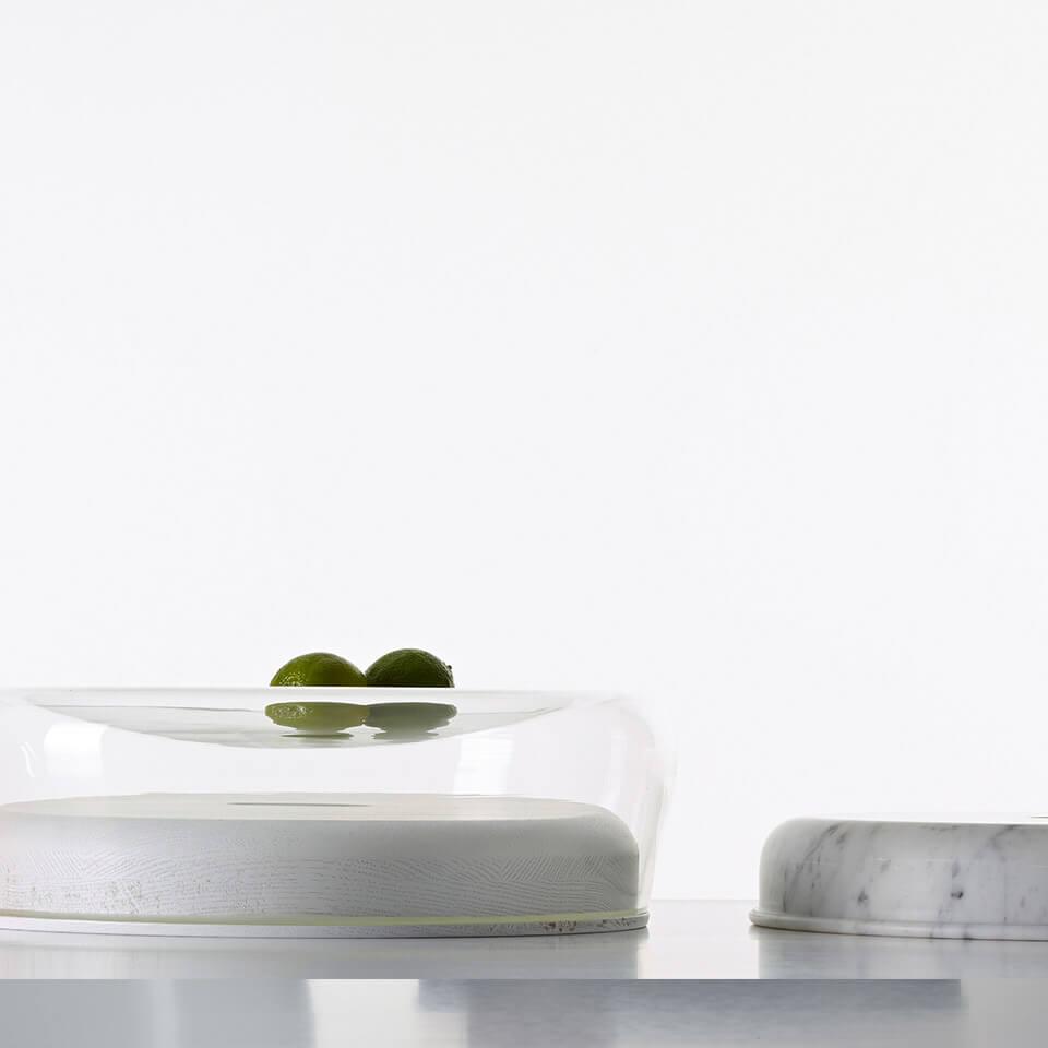double bowl peruse schale glas holz